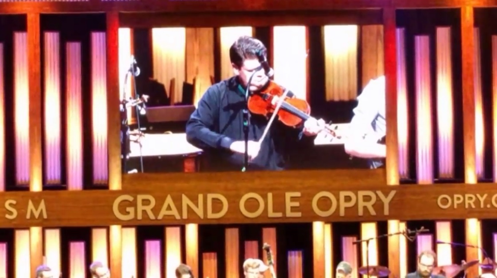 Brian Christianson plays his fiddle at the Grand Ole Opry with his new VioStrap.